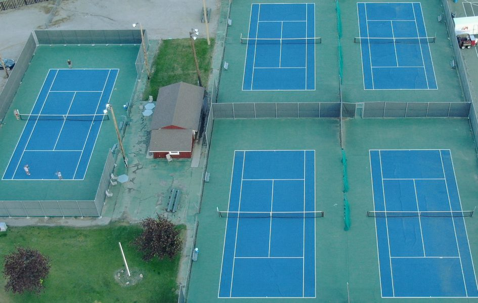 aerial view of tennis courts in casper, wy