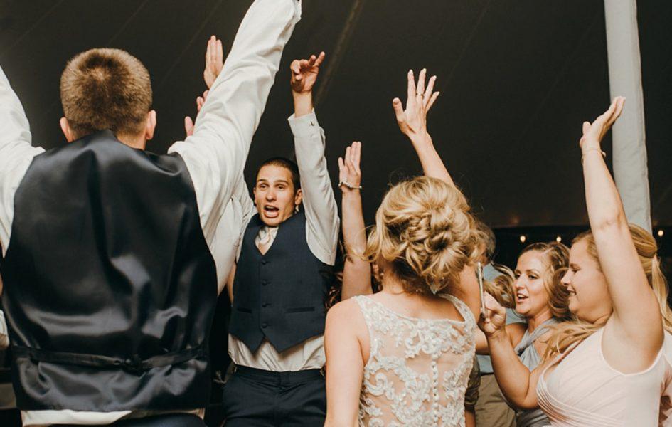 wedding party on dance floor