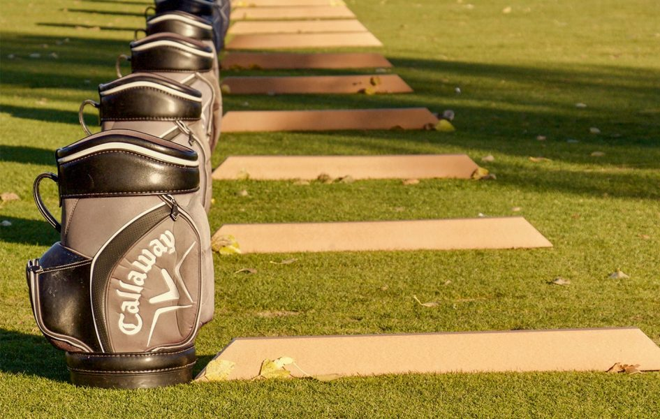 driving range with callaway bags