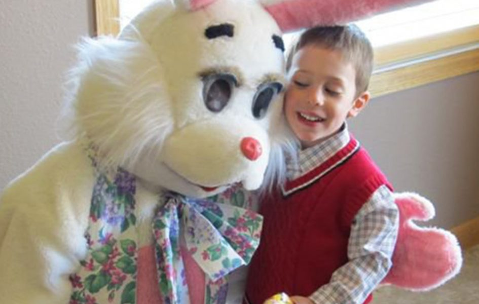 little boy with easter bunny