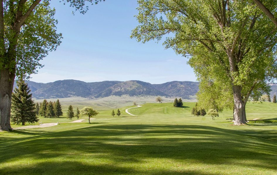 blue sky and green grass on casper country club golf course
