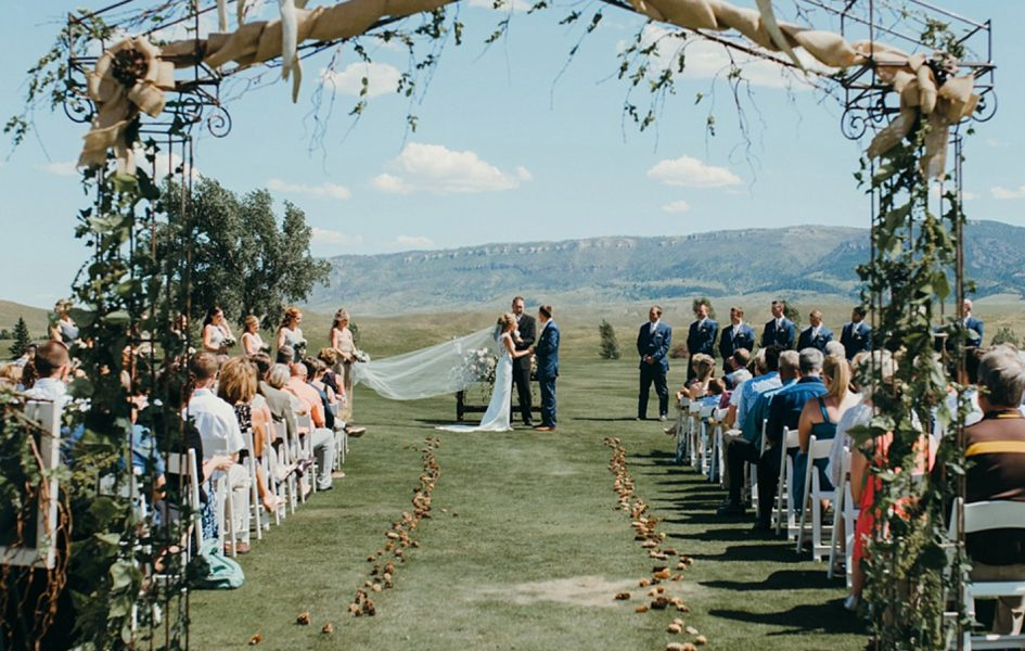 outdoor wedding at casper country club