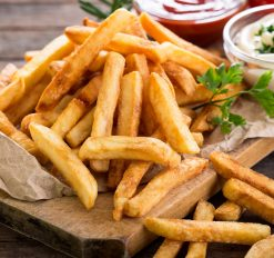french fries with ketchup and ranch