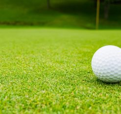 close up of golf ball on course